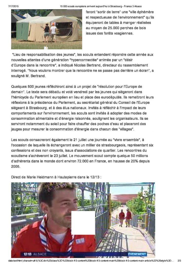 15 000 scouts européens ...bourg - France 3 Alsace2